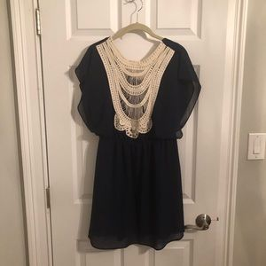 Francesca's navy chiffon dress with lacing detail